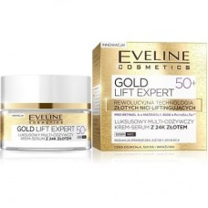 EVELINE GOLD LIFT EXPERT 50+ FACE MULTI- NOURISHING CREAM SERUM WITH 24K GOLD